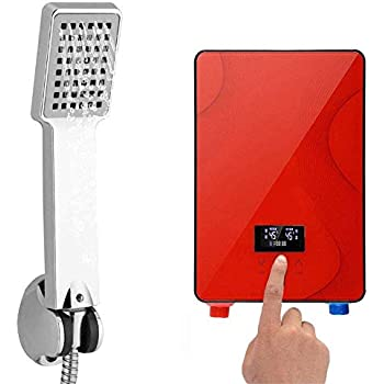 Tankless Water Heater, 220V 6500W Portable Digital Tankless Instant Electric Hot Water Heater Shower System for Home Bathroom Shower (USA Stock) (Red)