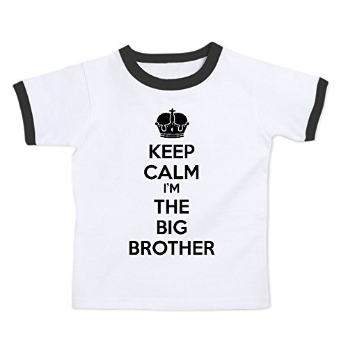 Price comparison product image We Match! Keep Calm I'm The Big Brother Toddler & Kids Ringer T-Shirt (White/Black, 2T)