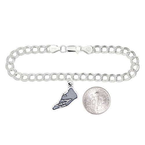 Silver Oxidized Travel Map of Hilton Head Island (Charm Bracelet) ()