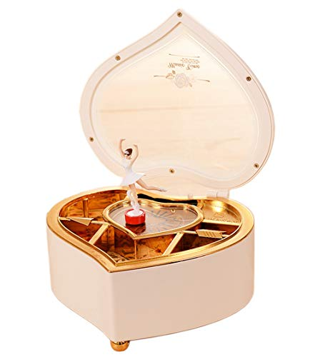 Amperer Ballerina Musical Box Heart Shaped Jewelry Music Box with Rotating Dancer Ballerina Fairy Girl, Best Birthday Christmas Gift (1# (Ballerina White Trinket Box)