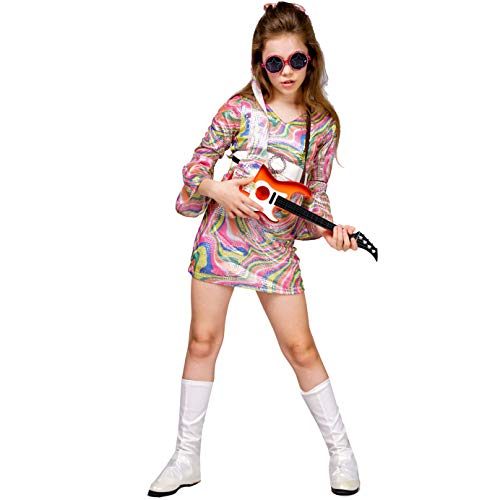 Kid's Girl 70's 80's Rainbow Hippie Disco Dress Costume ()