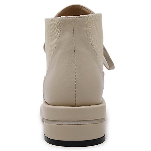 VogueZone009 Damen Blend-Materialien Zehe Niedriger Absatz Schnüren Pumps Schuhe Aprikosen Farbe