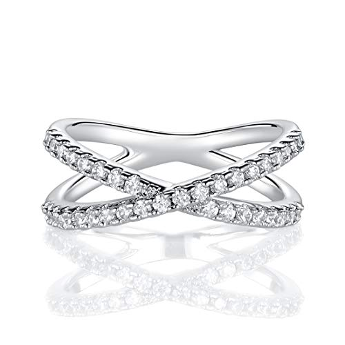 MDFUN 18K Rhodium Plated X Ring Cubic Zirconia Criss Cross Ring for Women (7) ()
