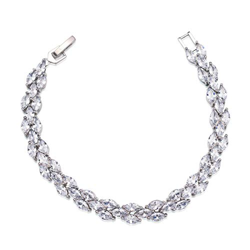 SWEETV Crystal Rhinestone Bracelets for Wedding Bridal Jewelry, Tennis Bracelets for Brides,Bridesmaid,Women,Silver]()