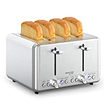 4 Slice Toaster, whall Stainless Steel,Bagel Toaster - 6 Bread Shade Settings,Bagel/Defrost/Reheat/Cancel Function with Dual Control Panels,4 Extra Wide Slots,Removable Crumb Tray,for Various Bread Types (1500W,Sliver)