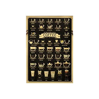 Fangeplus(TM) Coffee Pop Chart Menu Poster Antique Vintage Old Style Decorative Poster Print Wall Coffee Shop Bar Decor Decals 20.0''x13.9''