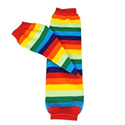 Wrapables Stars, Stripes, and Solids Colorful Baby Leg Warmers - Rainbow Brite