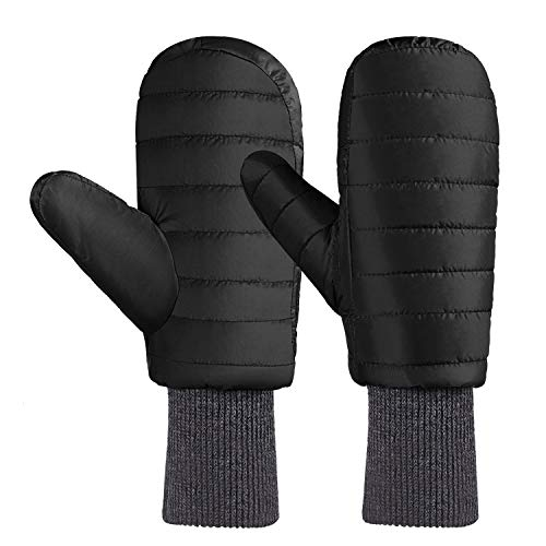 Down Goose Mittens - Andake Down Mittens Gloves for Men Water-resistance Warm Winter Snow Gloves for Walking Jogging Work Outdoor Activities (L/XL, BLACK)