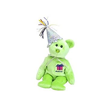 74910614a99 TY August Birthday Bear with Hat Beanie Baby  Amazon.co.uk  Toys   Games