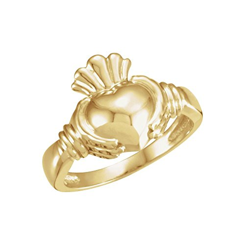 18k Yellow Gold Ladies Claddagh Ring - Size 7