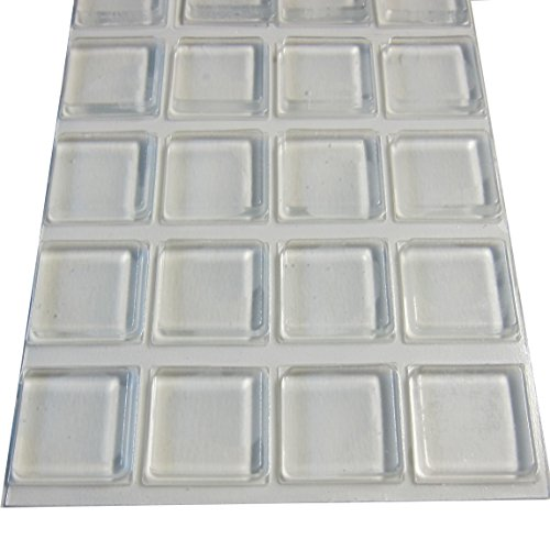 Rubber Feet Adhesive Rubber Pads, 1 Inch Square Self Stick Bumpers, Clear Bumper Pads - 20 Pack