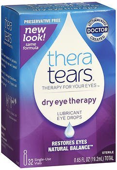 Lubricant Tears Eye - TheraTears Dry Eye Therapy Lubricant Eye Drops - 32 containers, 0.65 oz ampules, Pack of 4