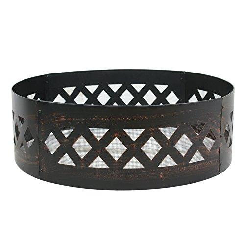 LEMY 37'' Heavy Duty Fire Ring Wilderness Fire Pit Ring Campfire Ring Steel Patio Camping Outdoors by LEMY (Image #2)'