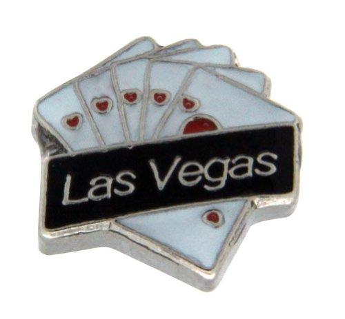 Las Vegas Heart Royal Flush Floating Locket Charm