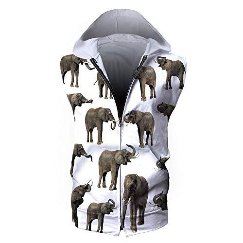 iPrint Men's Waistcoat Casual Hooded,Elephants Decor,Group of Elephants Tusk Ear Large