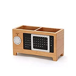 Fenleo Wooden Creative Calendar Pen and Pencil Holder Desk Tools Storage Box for Home and Office
