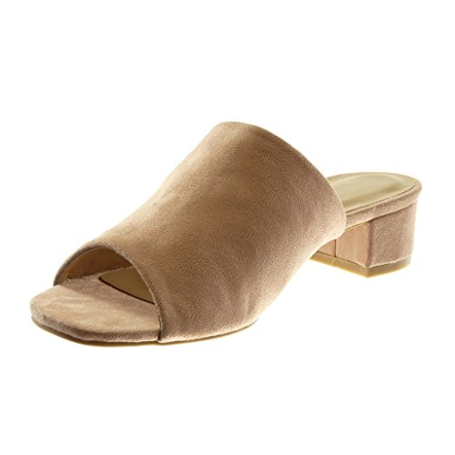 Mule Angkorly Peep Bloc Slip 4 Toe Chaussure Rose Mode cm Haut Femme Talon Sandale on clair ntxBgtRr