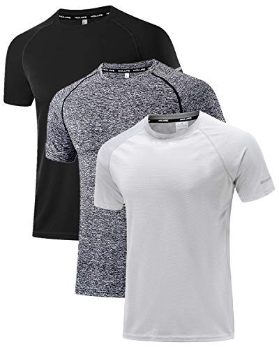 Holure Mens Pack Sportswear Breathable Quick-Drying Short-Sleeved T-Shirt 1 or 3