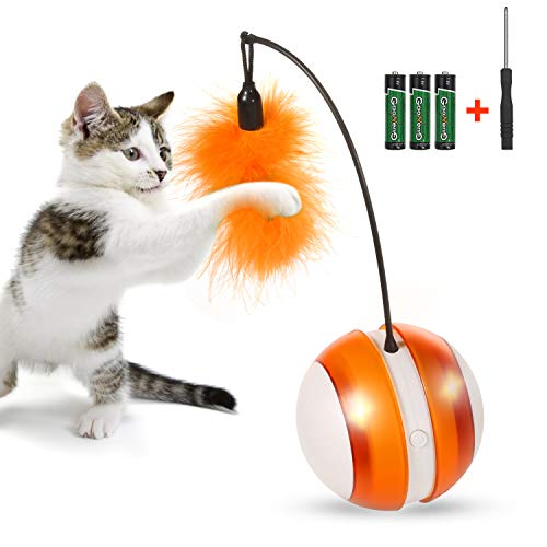 OLEY Smart Interactive Toys Electronic Cat Ball with LED Light and Detachable Feather, 360 Degree Self Rolling Ball for Indoor Cat Entertainment, Play, and Hunting, Adjustable 2 Modes