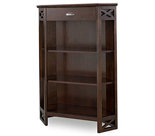 Deluxe Premium Collection Mantel Height 3-Shelf Corner Bookcase with Drawer Storage by Home Chocolate Oak Decor Comfy Living Furniture (Cabinet Curio Mantel Oak)