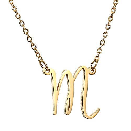 AOLO 14K Gold M Initial Necklace Alphabet Letter Jewelry]()