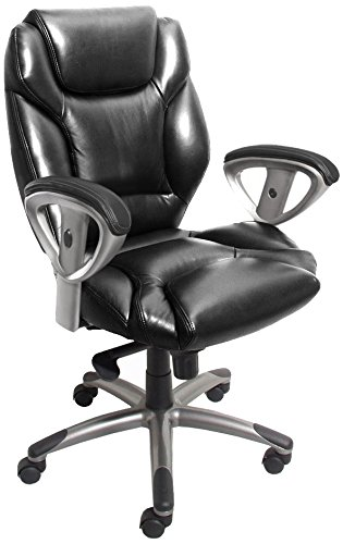 Tiffany Leather Chair - Mayline UL330MBLK Ultimo 300 Mid-Back Task Chair with Arms, Black Leather