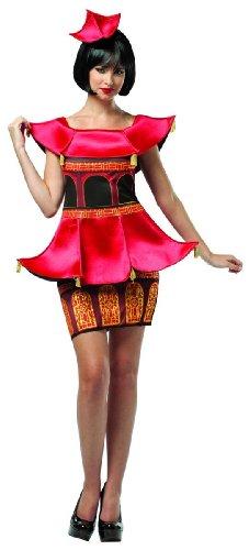 Pagoda Dress Costumes (Rasta Imposta Women's Adult Pagoda Dress, Red, S/M (4-10))