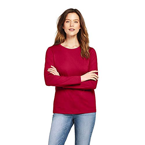 upima Cotton Long Sleeve T-Shirt - Relaxed Crewneck, XL, Rich Red ()