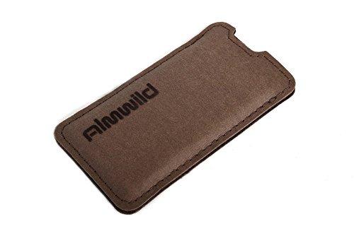 """ALMWILD® Hülle Tasche iPhone 8, 7, 6s, 6 aus Vega-""""Leder"""" in Widder Braun mit Flockdruck. Bayerische Manufaktur"""