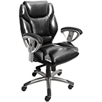 Tiffany & Co. Mayline UL330MBLK Ultimo 300 Mid-Back Task Chair with Arms, Black Leather