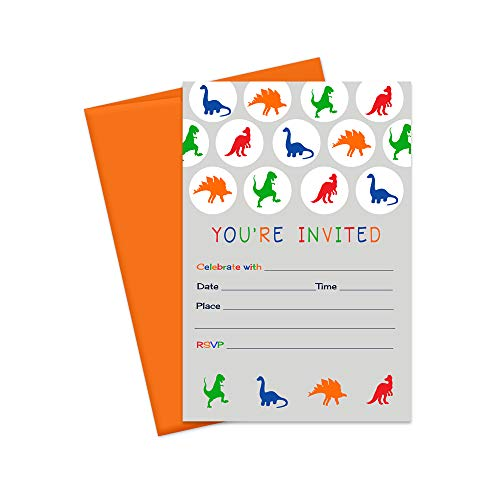 Dinosaur Party Invitations and Envelopes - 15 Pack