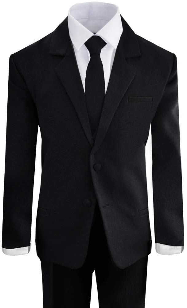 Boys Black Tuxedo Suit with Tie Young Boys Youth Size 3T