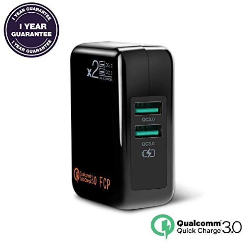 Quick Charge 3.0 USB Travel Wall Charger,2 Ports QC3.0 QC2.0 Adapter Smart Fast Charging Adaptive Plug for iPhone, Samsung, LG, Tablet &more