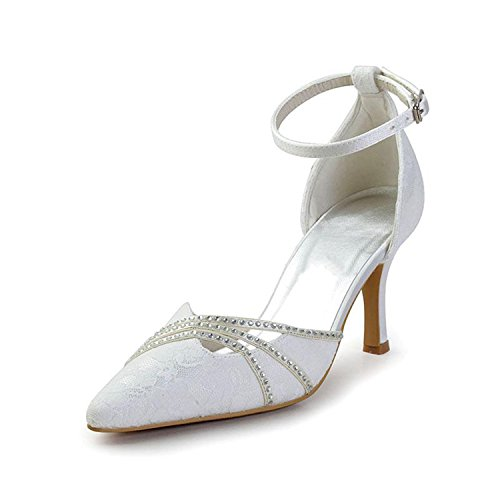 Party 5cm Pumps Minishion Heel Wedding Strap Girls 7 Bridal Womens Shoes White Lace Ankle qq70w