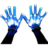 MAGIFIRE Led Skeleton Gloves, 12 Color Changeable Light Up Shows Halloween Costume, Novelty
