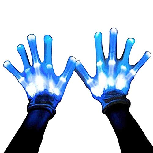 (MAGIFIRE Led Skeleton Gloves, 12 Color Changeable Light Up Shows Halloween Costume,)