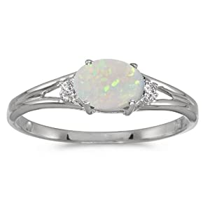 0.19 Carat (ctw) 14k Gold Oval White Opal and Diamond Accent 3 Three Split Shank Promise Fashion Ring (6 x 4 MM)