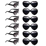 12 Pack Wholesales Heart Shape Design Neon Colors Cute Love Sunglasses for Birthday, Bachelorette, Sunmmer Vacation Parties 100% UV Protection Eyewear for Women and Girls (black)