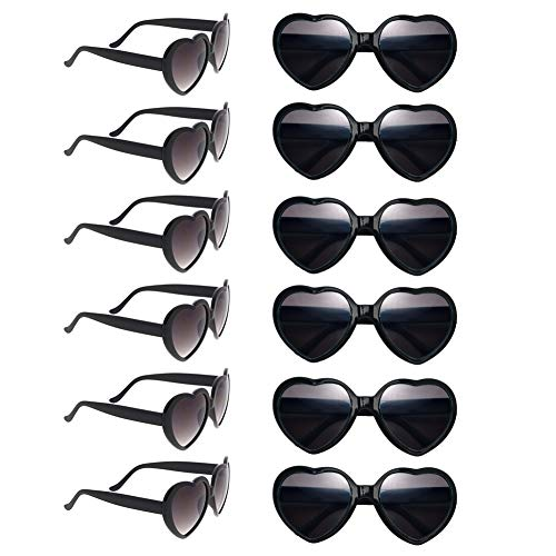 12 Pack Wholesales Heart Shape Design Neon Colors Cute Love Sunglasses for Birthday, Bachelorette, Sunmmer Vacation Parties 100% UV Protection Eyewear for Women and Girls -