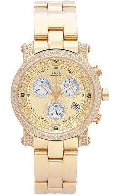 Aqua Master Unisex Power Two-Row Diamond Watch with Diamond Dial, 2.20 (Two Row Diamond Watch)