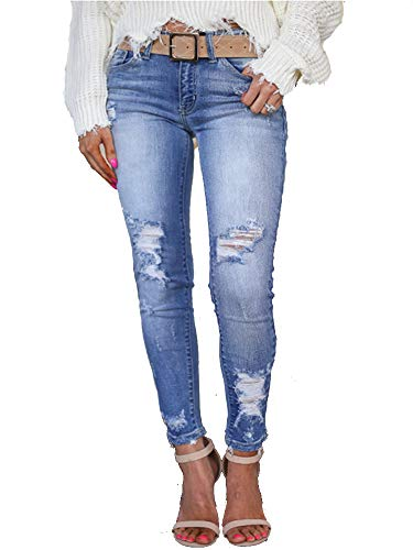 (IyMoo Womens Skinny Jeans - Women Junior Distressed Ripped Holes Stretchy High Waisted Sexy Skinny Jeans (S, Dark Blue))