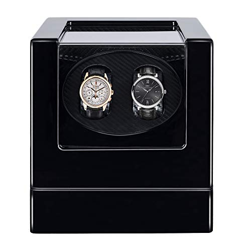 Kalawen Automatic Double Watch Winder Box for All Automatic Mechanical Watches with Quiet Motor AC Adapter or Battery Powered for 2 Men