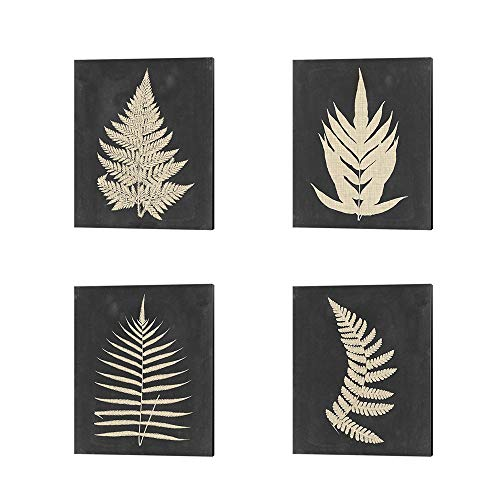 Linen Fern by Vision Studio, 4 Piece Canvas Art Set, 12 X 15 Inches Each, Floral Art
