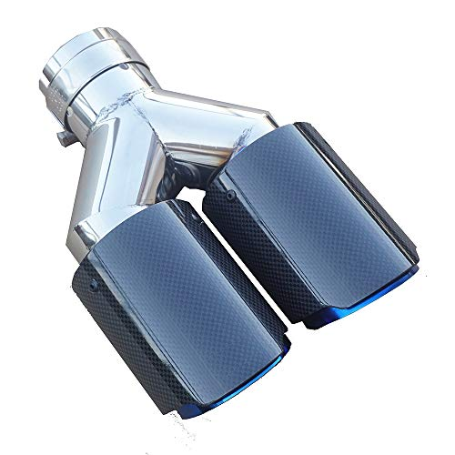 SORMOR Glossy Carbon Fiber Dual-Outlet Y-style Muffler Pipes Exhaust Tips with Blue Burnt Stainless Steel. Inlet 63mm(2.5inches) Outlet 89mm(3.5inches) ()
