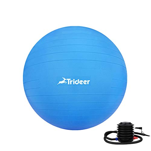 Trideer Exercise Ball (45-85cm) Extra Thick Yoga Ball Chair, Anti-Burst Heavy Duty Stability Ball Supports 2200lbs, Birthing Ball with Quick Pump (Office & Home & Gym) (Dark Blue, 45cm) by Trideer (Image #1)