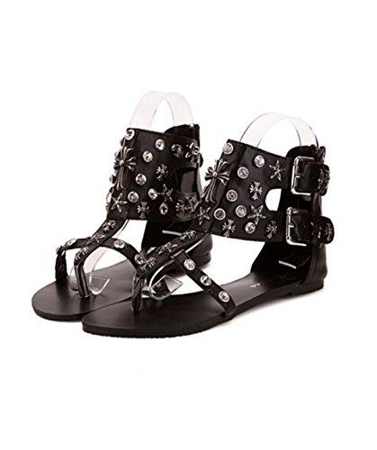 Römischen Stil Strass Gürtelschnalle Niet Klippzehe Schuhe Black