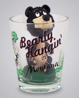 Shot Glass Montana (Montana Bear Bobble Head Shot Glass)