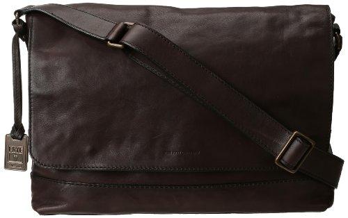 FRYE Men's James Tumbled Full Grain Messenger Bag, Dark Brown, One Size