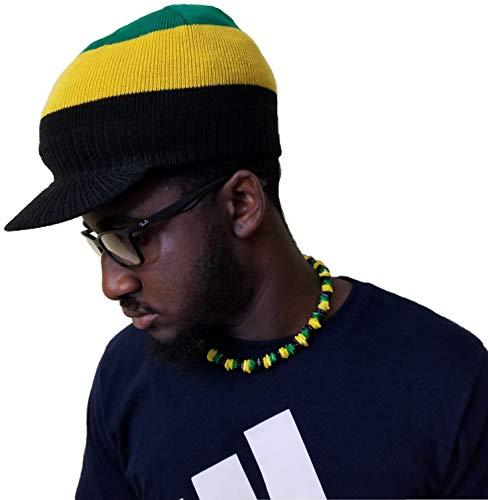 (BUNFIREs Fashion Unisex Winter Visor Jamaica Flag Beanie Knit Hat Cap Crochet Men Women Ski Warm w/Jamaican Colors)