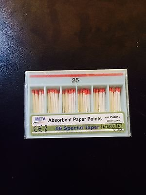 Bulk dental paper point .06 Taper #25 10x of 60/pack (Total 600pieces) -Meta